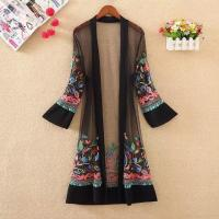 Quality Mesh Floral Embroidered Long Cover-ups Kimono for sale