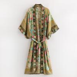 Quality Wholesales Floral Print Rayon Cotton Bohemian Kimonos For Women for sale