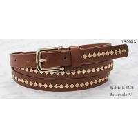 Quality Polished Patterns Womens Fashion Belts With Gold Buckle And Square Metal Studs 1.85cm Width for sale