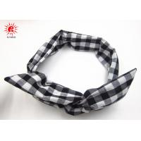 Quality White Black Rabit Ear Hair Scrunchie Grid Fabric Folding Metal Cute Hair Bands for sale
