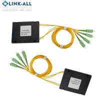 Quality Link-all Optical Fiber PLC Splitters 2x4/8/16/32 ABS Box Type with SC/APC connector for FTTH network for sale