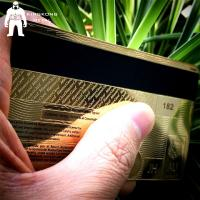 Quality Laser Cut Anodized Gold Business Cards With Mirror On Back 0.3mm 0.5mm Thickness for sale