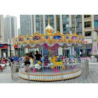 China Commercial Theme Park Carousel Horse Ride Customize Color FRP Material on sale