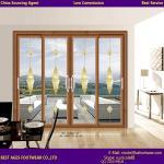 Quality 2015 Aluminum Balcony design wooden colour tilt and sliding door for sale