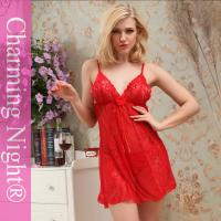 Latest Front Lace Red Sexy Mature Women Fetish Chemise Lingerie With G-string