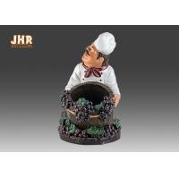 China Chef Table Decor Polyresin Statue Figurine Resin Chef Wine Holder Small Chef Sculpture on sale