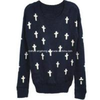China Knitted Cross Sweater for Women Fashion Vintage Loose Pullovers Casual Wear on sale