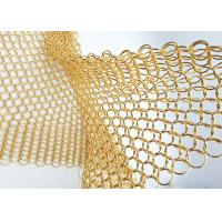 China 1.5MM Dia 15mm OD Gold Colored Steel Ring Mesh Dexhibition Halls Divider on sale