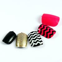 Quality Healthy Fingers Fake Nails Stripe pattern For women , Adult False nail for sale
