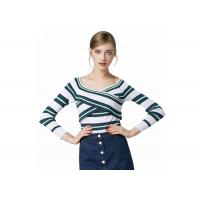 Quality Sexy Lady Cozy Knit Sweater Long Sleeve V Collar Pullover With Striped Pattern for sale