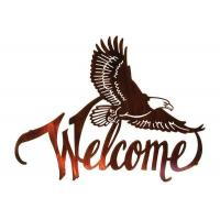 China American Bald Eagle Welcome Large Metal Wall Sculptures For Home Decorations on sale