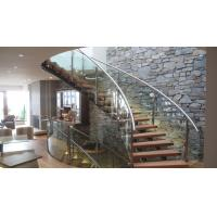 China Interior modern glass wood tread curved stair / staircase design on sale