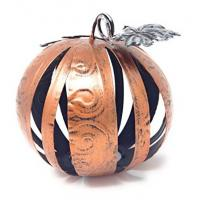 Small Orange Band Metal Band Decorative Pumpkin Sphere With Galvanized Leaves