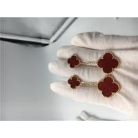 Quality Magic Alhambra 18K Gold Earrings With Red Mother Of Pearl / Custom Size for sale