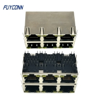 Quality 2x3 6 Ports Female RJ45 Connector PCB 48 Pin Modular Jack Connector for sale