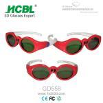 Quality Lovely Red Round Frame USB Recharable Active Shutter 3D Glasses For Children for sale