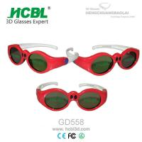 Buy Lovely Red Round Frame USB Recharable Active Shutter 3D Glasses For Children at wholesale prices