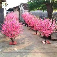 Quality UVG small artificial peach blossom wooden tree wedding reception decorations selling products CHR166 for sale
