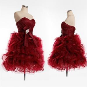 Quality High Class 2014 Ruffle Sweetheart prom dresses Green/Purple/Pink/Wine Red/Gray Short Dress Vestido De Festa Custom for sale