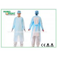 Quality Plastic Disposable Protective Gowns / Blue CPE Surgical Gown for Patient , CE Standard for sale