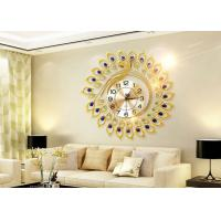China Luxury Peacock Design Metal Wall Clock Gold Plated For Home Decoration on sale