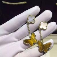 Quality Lucky Alhambra 18K Gold Earrings 2 Motifs White Mother Of Pearl With Butterfly Shape for sale