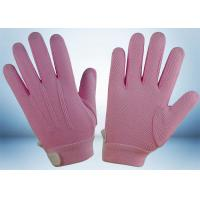 Quality Dyed Colors Cotton Work Gloves Magic Tape On Wrist 145gsm Fabric Weight for sale