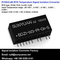 Quality Pt100 or Cu50 Temperature Signal to 4-20mA/0-20mA/0-5V/0-10V/1-5V Analog Signal Isolation and Transmission Converter for sale
