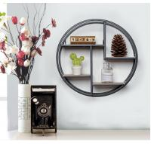 China Black Round Metal Shelf, Minimalist Wall Display with 4 shelves, Wall Hanging Storage Rack, on sale