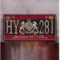 Quality HY 281 Barcelona vintage american state plate hanging Wall Hanging Metal Plate Plaque for sale