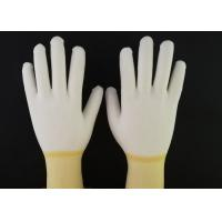 Quality Yellow PU Coated Gloves Hot Melt Binding Edge With 100% Nylon Knitted Liner for sale