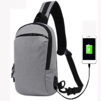 Quality Grey Nylon USB Charging Multifunctional Chest Bag Customized for sale