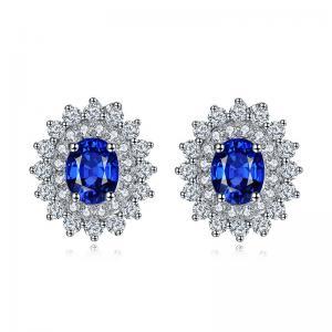 China Sparkly Diamonds 18k Gold Gemstone Earrings Sapphire Wedding Earrings on sale