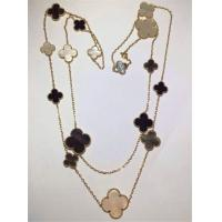 Quality 16 Motifs 18k Van Cleef And Arpels Magic Alhambra Long Necklace White Gray Mother Of Pearl Onyx for sale
