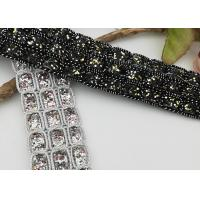 Quality Rhinestones Elastic Ribbon Trim , Black / Silver Gorgeous Elastic Stretch Ribbon for sale
