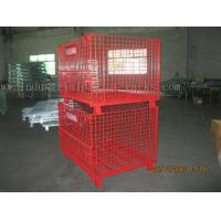 Buy cheap Epoxy Powder Coating Painting Red Wire Mesh Container Heavy Weight 2000lbs from wholesalers