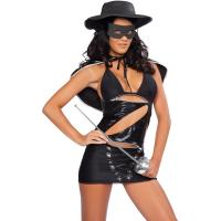 Quality Hero Costumes Wholesale Black Sapndex PVC Masked Bandita Costume with size S to XXL for sale