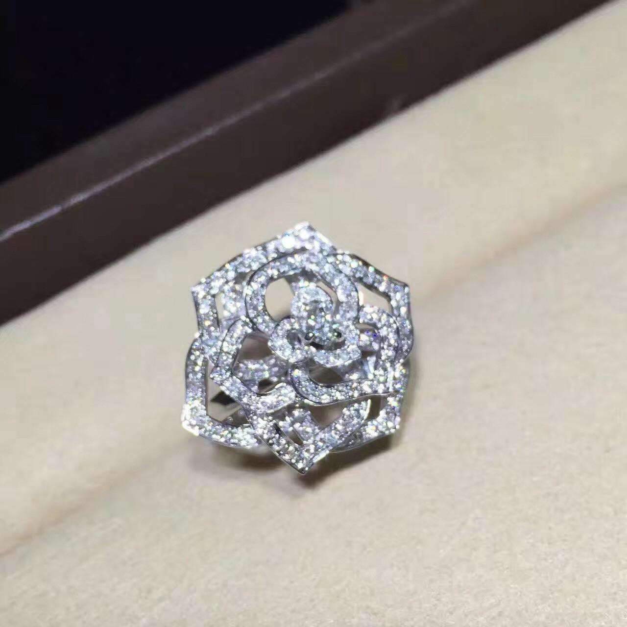 Quality Piaget Rose Ring High End Custom Jewelry 18K White Gold Set With Diamond for sale