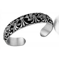 Quality Retro Jewelry Stainless Steel Bangle Bracelets Carved Cruciferous Jewelry Pattern Never Fade for sale