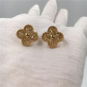 Quality Van Cleef Vintage Alhambra Earrings , 18K Yellow Gold Van Cleef Mini Alhambra Earrings for sale