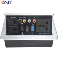 Quality Silver Desk Pop Up Power Socket   With USB / HDMI / RCA Bottom Connection for sale
