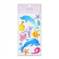 Quality Sea Fish Glitter Epoxy And Paper Stickers Handmade 3D Two Layers High Quality Low Cost For Kids Fun And Learning for sale