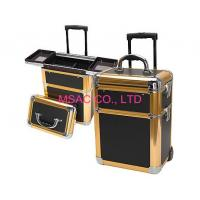 Quality Black Fireproof Aluminum Cosmetic Trolley Case For Travel 420*260*220mm for sale
