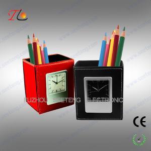 China custom pu leather pen holder with alarm clock china wholesale on sale