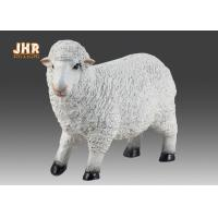 China Life Size White Color Polyresin Animal Figurines Dolly Sheep Sculpture Garden Decor on sale