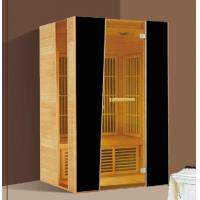 Quality 2 Person Hemlock Far Infrared Sauna Cabin with Brown Tempered Glass Door for sale