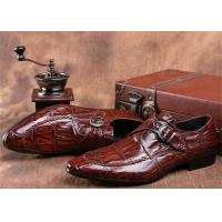 Quality Mens Single Monk Strap Shoes , Moc Toe Dress Shoes With Embossed Crocodile Pattern for sale
