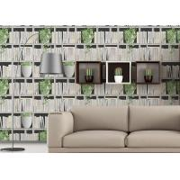 Quality Green Plants And Books Printing 3D Home Wallpaper  Modern Concise Style For Coffee Shop for sale