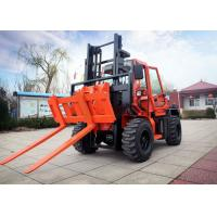 Quality 3.5T Capacity All Terrain Forklift Diesel Power Type With Dual Front Tyre for sale