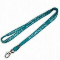 Quality Blue Promotional Lanyard, Made of Tubular Polyester, with Metal Hook, Beads and Silkscreen Printing for sale